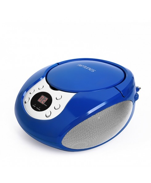 Riptunes Portable CD AM/FM Boombox, Blue