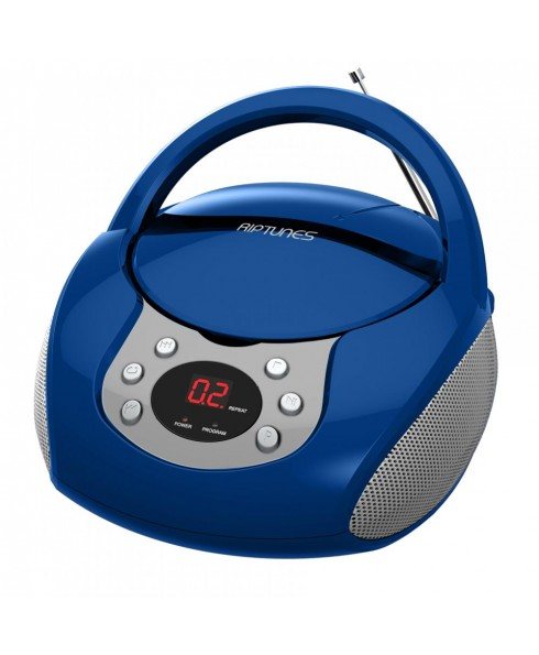 Riptunes Portable CD AM/FM Boombox, Blue