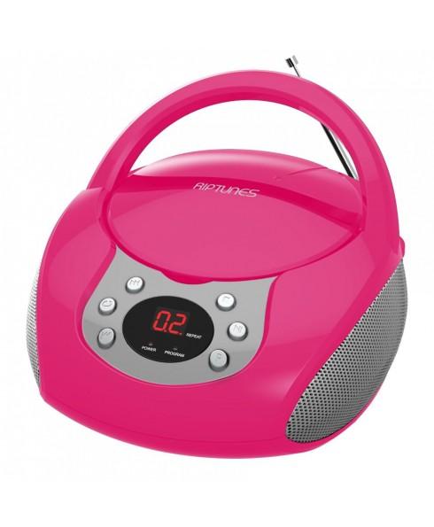 Riptunes Portable CD AM/FM Boombox, Pink