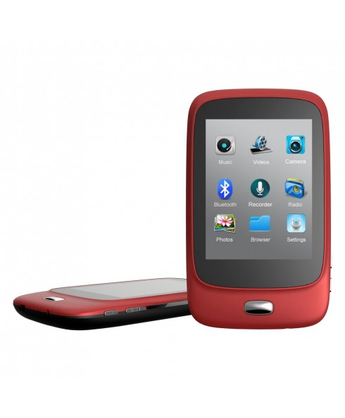 Riptunes 8GB MP3 Player with Bluetooth, 2.8-inch LCD and microSD Card Slot, Red