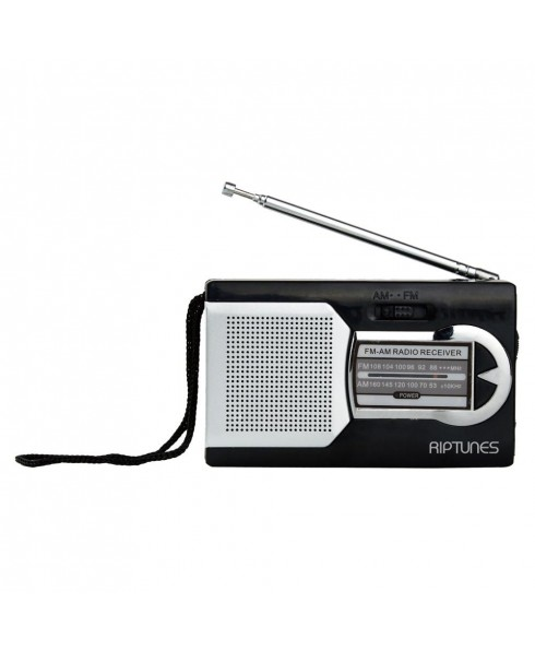 Riptunes AM/FM Pocket Radio with Speaker and Headphone Jack