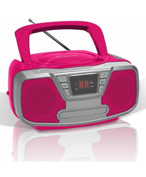 Riptunes CDB-232BT AM/FM CD Boombox with Bluetooth, Pink