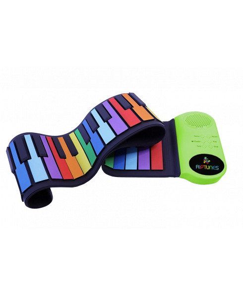 Riptunes ERK-4902 Roll It Up Musical Keyboard with 49 Colorful Keys, Green