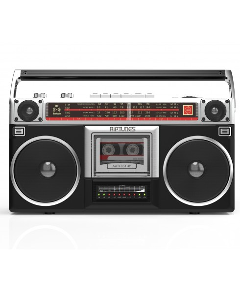 Riptunes Radio Cassette Stereo Boombox With Bluetooth Audio - Black