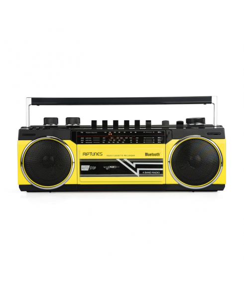 Riptunes Retro AM/FM/SW Radio + Cassette Boombox with Bluetooth and USB/SDHC Playback, Yellow