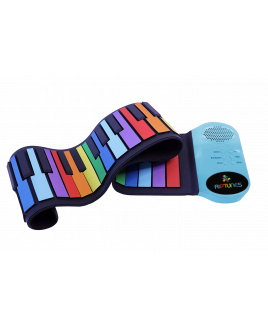 Riptunes ERK-4902 Roll It Up Musical Keyboard with 49 Colorful Keys, Blue