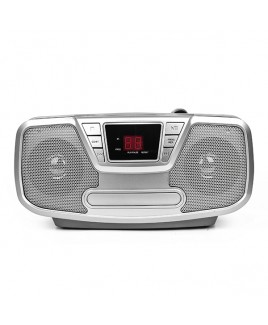 Riptunes Bluetooth Portable CD Boombox with AM/FM Radio, Silver