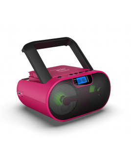 Riptunes Pink CD MP3 Stereo Boom Box AM/FM Radio with Bluetooth®