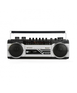 Riptunes Retro AM/FM/SW Radio + Cassette Boombox with Bluetooth and USB/SDHC Playback, Silver