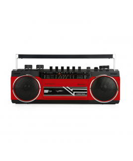 Riptunes Retro AM/FM/SW Radio + Cassette Boombox with Bluetooth and USB/SDHC Playback, Red