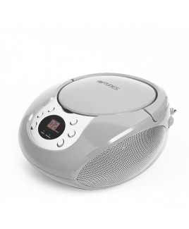 Riptunes Portable CD AM/FM Boombox, Silver