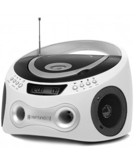Riptunes AM/FM CD/MP3 Boombox - White