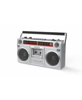 Riptunes Radio Cassette Stereo Boombox With Bluetooth Audio - Silver