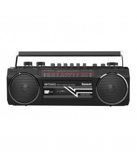 Riptunes Retro AM/FM/SW Radio + Cassette Boombox with Bluetooth and USB/SDHC Playback, Black