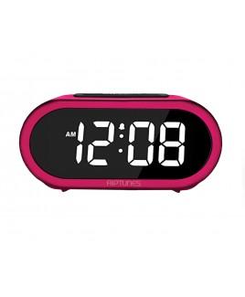 Riptunes 1.4-Inch Digital Alarm Clock w/ 5 Alarm Sounds - Pink